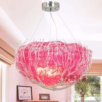 [ Tea house ] fashion pink aluminum wire nest children's bedroom lamp chandelier lamp living room lamp 6018 study lamp