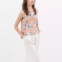 ST2273 New Fashion Ladies' elegant floral print Vest blouses O neck sleeveless loose shirts casual brand designer tops
