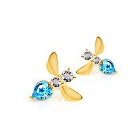 Austria crystal 18k gold stud earring female fashion little bees earrings - - g124