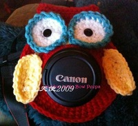 Min.order is $9.9 (mix order)Handmade knitted hot-selling owl style camera case lens case child props