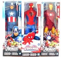 "1piece  Marvel Heros Captain America Iron Man Spide Man The First Avenger Superhero PVC Action Figure Toy 12""30CM"