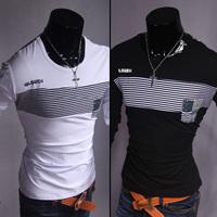 High Quality! Hot Sale 2014 New Men Casual Slim Cotton T-shirt Fashion Men O-neck Short Sleeve T-Shirt Free Shipping, Wholesale