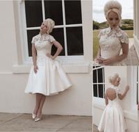Fashionable High Neck Lace vestido de noiva curto A-Line Custom Made Short Sleeve Satin Tea Length Backless Wedding Dress 2014