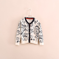 2014 autumn fashion brand children girl floral cardigan knitwear sweater 2-7 years