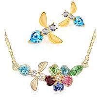 Austria crystal 18k bee earrings necklace twinset - - g124