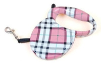 3M Retractable Dog Leash Pet Outdoor Belt Leash Leads With Pink Tartan For Small Dogs Up to 25kg