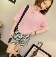 Women Fashion Turn-down Collar Half Batwing Sleeve Solid Pocket Shirt Free Shipping A508A-9159