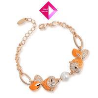 2014 Austrian crystal bead bracelets Pisces drama,Gold/Rose Gold PlatedBracelet,gold bracelet
