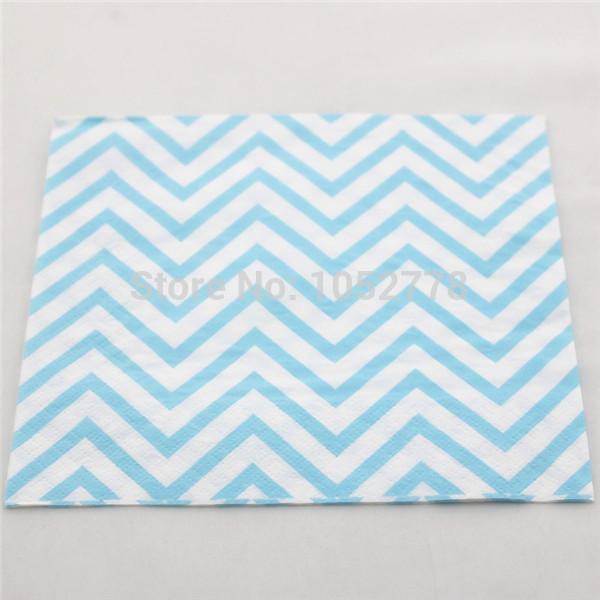 Free Shipping 2000 PCS Baby Blue Chevron Folding Paper Napkins For Party Decoration(China (Mainland))