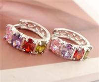Hot Sale 1pair Sterling Silver Muiticolored CZ Stunning Womens Hoop Earrings Nice Cubic Zirconia