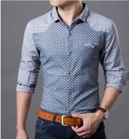Autumn new 2014 Contrast color Fishion Long sleeve shirt  free shipping  L XL 2XL 3XL 4XL  blue and grey  Dot shirt