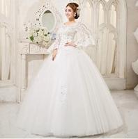 Fashionable Sweet Princess Lace Wedding dress 2014 vestidos de novia Long Sleeve wedding dresses bridal gown wedding gowns W63