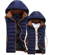 men Winter Warm Man's jacket down Cotton Vest men Fashion Waistcoat 2014 detachable cap men vest slim casual cotton waistcoat