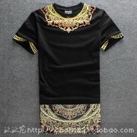 2014 New Fashion Mens T-shirt Side Zipper Streetwear Hip-hop Print Lengthen Tshirts Long Design dress Tee
