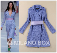 TOP QUALITY Woman Autumn Winter Brand Designer British Style Runway Embroidery Cutout Slim Blue Long Trench Coat Dress With Belt