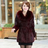 2014 new Haining leather imitation rabbit fur whole fox fur collar fur coat large size female models specialty