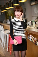 2014 High Quality Spring Hot Korean In The Long Version Of Doll Collar Zipper Bag Hip Length Knit Sweater Z0929