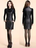 2014 Winter dress autumn leather dress slim PU slim hip long-sleeve casual dress women work wear leather with belt D596