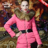 2013 winter luxurious fur collar slim medium-long thickening down coat female xa-b1329