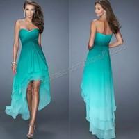 Vestido De Noite Sweetheart High low Gradual Change Chiffon Hi Low Sexy Women Party Prom Dress 2014