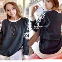 2Pieces/Lot 2014 Flower Printed Sweatshirts Women Embroidery Pullover Crochet Gray Hoodies Fleece Cheap Long Sleeve Sweater