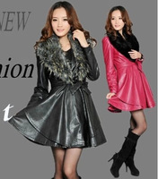 Popular 2014 New Leather Female Korean Version Self- Cultivating in Long Section Leather Jacket Women