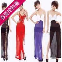 Ktv sexy one-piece dress evening dress long design of perspectivity full dress sexy women's