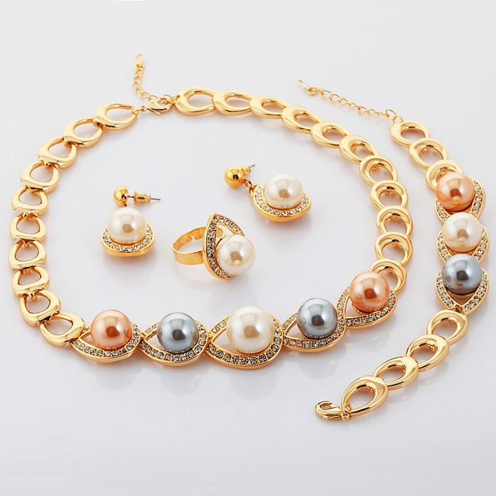 Jewelry Sets Fashion Hot New 18K Real Gold Plated Rhinestone Big