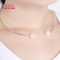 2014 christmas gift fashion hot 2 small faux pearl designer false collar choker pendant & necklace for women bijoux wholesale