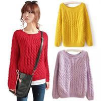 Korean Fashion New 2014 Autumn Winter Casual Sweater Loose Stripes Sweater Women's Tops Outerwear Female Crochet Pullover Coat