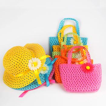 2 шт. летние дети девушки пляж переплетения затенение сумочка цветочные соломенная шляпка Cap костюм бесплатная доставка