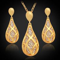 New Fashion Luxurious Elegant Ruby Necklace Pendant Earrings Set 18K Gold Plated Rhinestone Pendant Jewelry Set For Women PE694