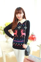 Spring 2014 Adicolo Free Postage Snow Deer Pattern Lapel New Sweater Bottoming Z0935