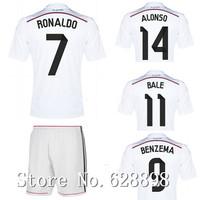 14/15 camiseta Real Madrid Home White Jersey with shorts set,2015 KROOS RONALDO BALE JAMES Soccer t-shirt Football uniforms kits