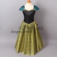 Retailer 2014 frozen Anna  dress Custom made Movie Cosplay Dress  girl party dress Frozen  Anna Costume for Children GD40701-1
