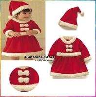 Girls Christmas Dress and Hat Set Children Clothing Set Meninas Vestir New Year Gift Festival Costume #7A5585 3 set/lot