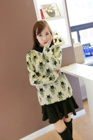 Spring 2014 Fashion Exclusive Selling Korean Version Of The New Hair Collar Cat Cartoon Jacquard Women Knit Sweater Z0936