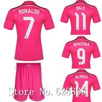 Sergio ramos 14/15 camiseta Real Madrid Away pink jersey with shorts set,2015 KROOS RONALDO JAMES Soccer t-shirt Football kits
