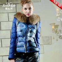 2013 new printing PU raccoon fur collar short paragraph Slim Down elegant winter women XA-B1330