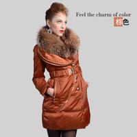 Girls sub counter genuine mink fur shawl collar long double zipper decoration Slim Down Women's Fashion XA-B1223
