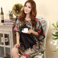 four corners blue black red rose big size silk top blouse/short dress