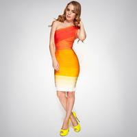 2014 Real New Vestido De Renda Fashion Spring And Summer Sexy One Shoulder Slim Gradient Bandage One-piece Dress Formal Banquet