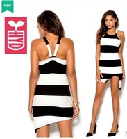 High quality 2014 export brand striped Hang a neck backless dress asymmetric side slit open tight dress