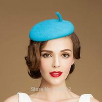 original top grade 100% wool  Blue wedding hats and fascinators party mini top hat fascinator