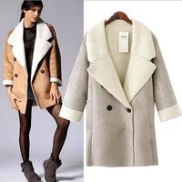2014 New Sheepskin Coat Women Winter Double Breasted Sheepskin Coats for Women Warm Winter Coat Three Sizes