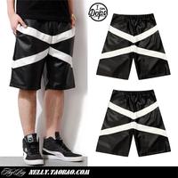 new fashion black-and-white patchwork leather gvc hifashion  G-dragon star style shorts tom boy