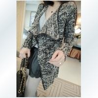 2014 free shipping  autumn winter  wool fashion patchwork elegant cardigan outerwear jacket