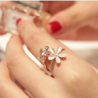 South Korean Small pure and fresh and opal flowers index finger ring free Shipping 3pcs/lot