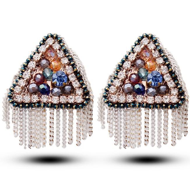 2014 Badges Classic Glass Crystal Bohemian Geometric Triangle Stud Earrings Rhinestone Tassel Upscale Fashion Jewelry Wholesale(China (Mainland))
