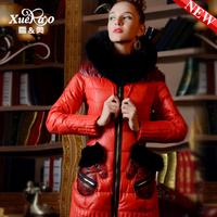 2013 fox fur slim pocket medium-long down coat women xa-b1338 Female winter coat